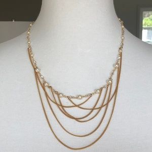 New Auth Chan Luu Pearl & Crystal Draped Gold Neck
